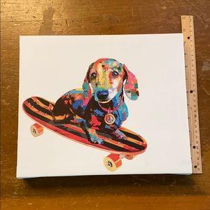 Dachshund on Skateboard Colorful Canvas Print